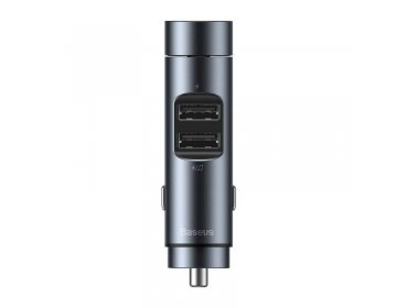 Baseus ENERGY COLUMN 2-PORT USB CAR CHARGER + TRANSMITER FM DARK szary