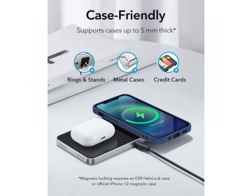 Esr HALOLOCK 2IN1 MAGNETIC MAGSAFE WIRELESS CHARGER czarny