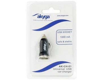 Akyga ładowarka samochodowa AK-CH-01 12V USB 1000mA czarna