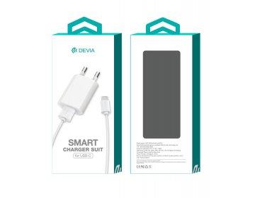 Devia ładowarka sieciowa Smart 1USB plus kabel typ-c biały 1A