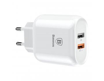 Baseus ładowarka sieciowa Bojure QC 3.0 2 USB biały
