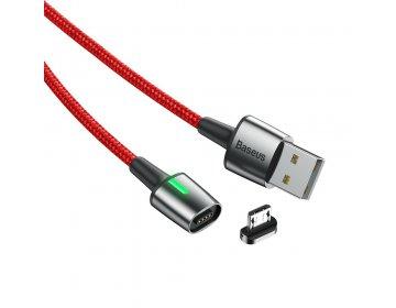 Baseus kabel Zinc Magnetic micro | 1 m czerwony 2,4A