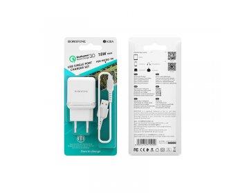 Borofone ładowarka sieciowa BA36A 1USB QC 3.0 z kablem micro biały