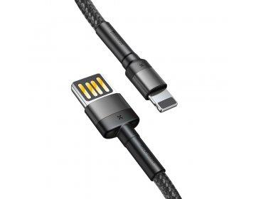 Baseus kabel USB Cafule do iPhone Lightning 8-pin 2,4A 1 metr szaro-czarny CALKLF-GG1