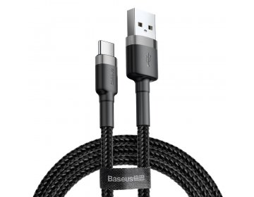 Baseus kabel USB Cafule Typ C 2A 2 metry szaro-czarny CATKLF-CG1