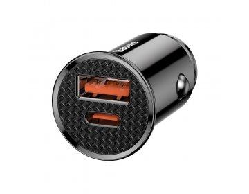 Baseus inteligentna ładowarka samochodowa Circular PPS z portami USB Quick Charge 4.0 QC 4.0 i USB-C Power Delivery 3.0 SCP czarny CCALL-YS01