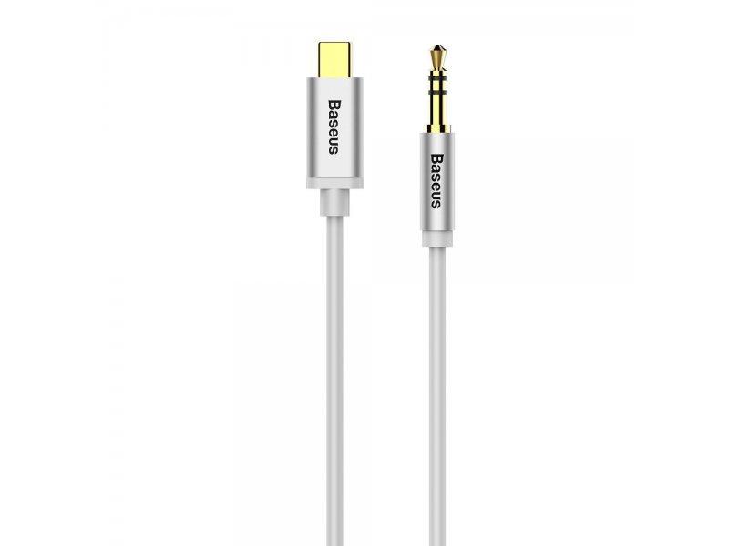 Baseus adapter audio/HF z typ C na jack 3,5 mm biały CAM01-02