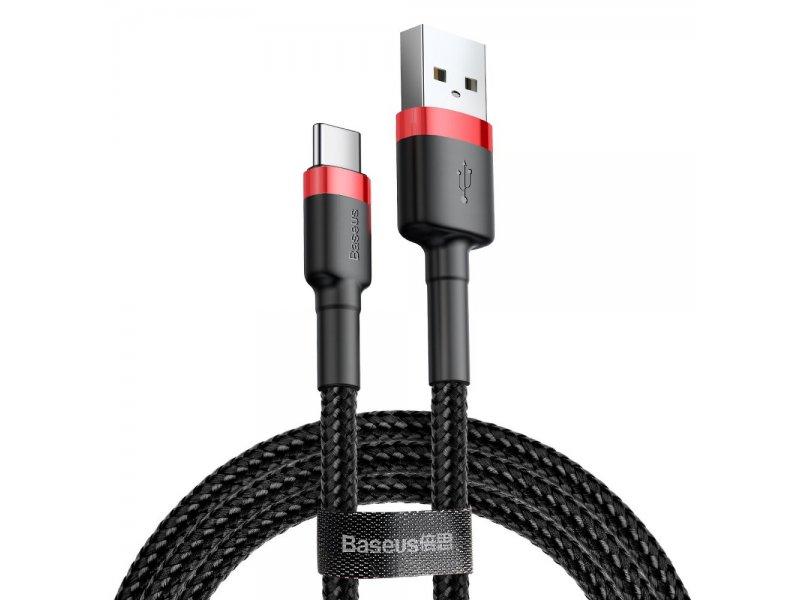 Baseus kabel USB Cafule Typ C 3A 1 metr czerwono-czarny CATKLF-B91