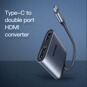 Baseus HUB Enjoy adapter przejściówka ze złącza USB-C na 2x HDMI + USB-C PD szary CAHUB-I0G