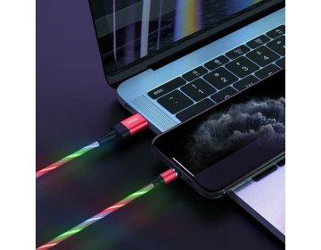 Hoco kabel USB magnetyczny Ingenious do iPhone Lightning 8-pin 2A U90 czerwony