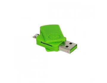 Czytnik kart micro SD > CR08 micro USB zielony