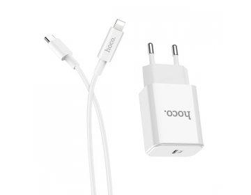 Hoco ładowarka sieciowa > C71A Star Speed 1xUSB Typ C PD 3.0 z kablem USB Typ C na Lightning biały