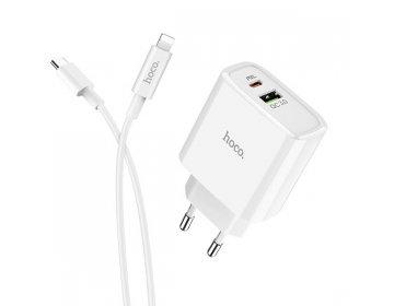 Hoco ładowarka sieciowa > C57A Speed Charger 1xUSB QC 3.0 + 1xUSB Typ C PD 2.0 z kablem USB Typ C na Lightning biały