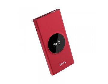 Hoco power bank > J37 Wisdom 2xUSB 10000mAh z ładowaniem indukcyjnym czerwony
