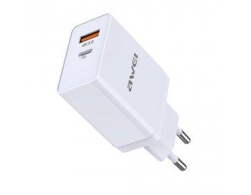 Awei ładowarka sieciowa > C-980 1xUSB QC 3.0 + USB Typ C PD 3.0 Biała