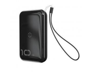 Baseus power bank 10000mAh mini S Bracket z indukcyjnym ładowaniem 1xUSB + USB Typ C PD Quick Charge 3.0 + kabel micro USB PPXFF10W-01 czarny